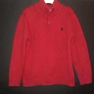 IZOD Boy's S (6/7) Sweater Red 1/4 Zip Long Sleeve